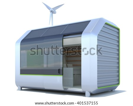 3D autonomic house on white background. Isolated