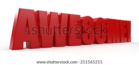 3D Awesome text on white background - stock photo