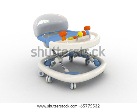 3D Baby walker isolated - stock photo