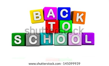 3d back to school illustration written in white on red, yellow, green, purple, orange and blue cubes