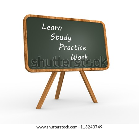 "3d backboard with words ""learn, study, practice, work"". - stock photo"