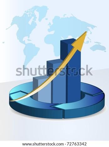 3d Background business graph with a world map - stock photo