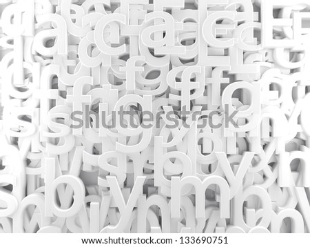 3d background white letters and alphabet