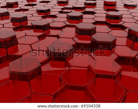 3d background with blue glass hexagons - stock photo