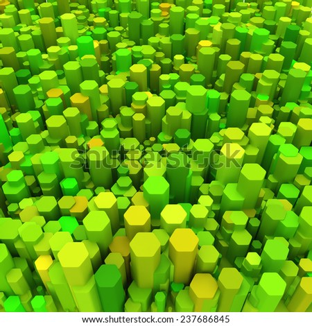 3d background with green hexagons  - stock photo