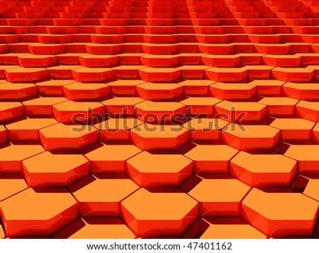 3d background with hexagons - stock photo