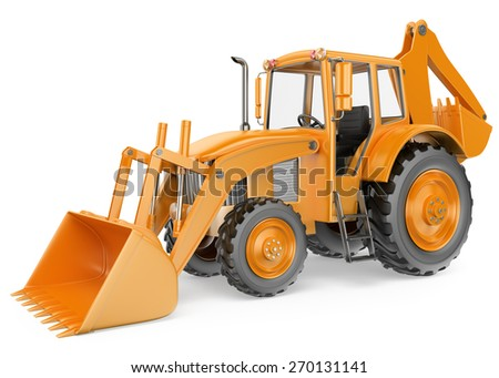 3D Backhoe loader. Digger. Isolated white background. - stock photo