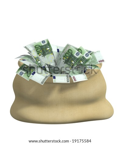 3d bag, filled euro. Object over white