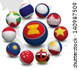 3D Ball with Flag of Asean Economic Community - stock photo