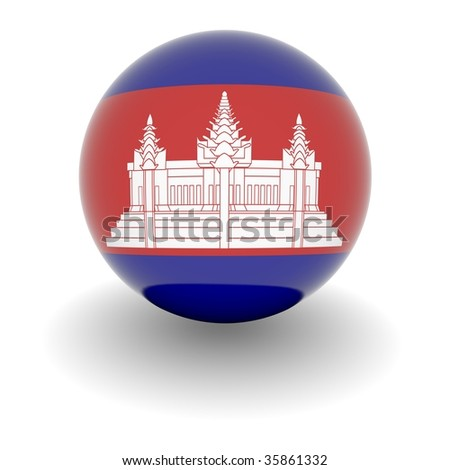 3D Ball with Flag of Cambodia. High resolution 3d render isolated on white. - stock photo