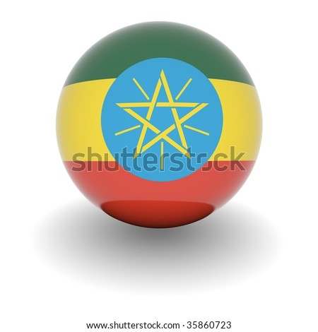 3D Ball with Flag of Ethiopia. High resolution 3d render isolated on white.