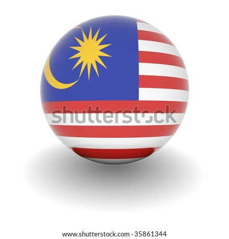 3D Ball with Flag of Malaysia. High resolution 3d render isolated on white. - stock photo