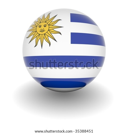 3D Ball with Flag of Uruguay. High resolution 3d render isolated on white.