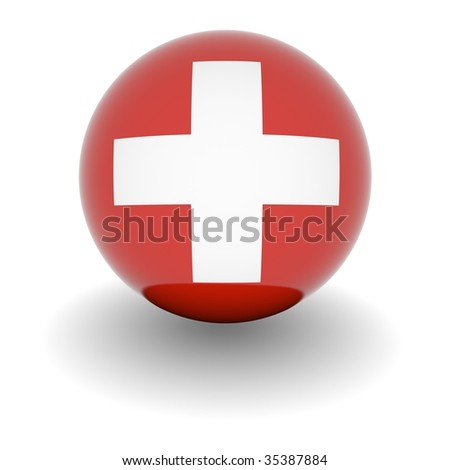 3D Ball withFlag of the Switzerland. High resolution 3d render isolated on white.