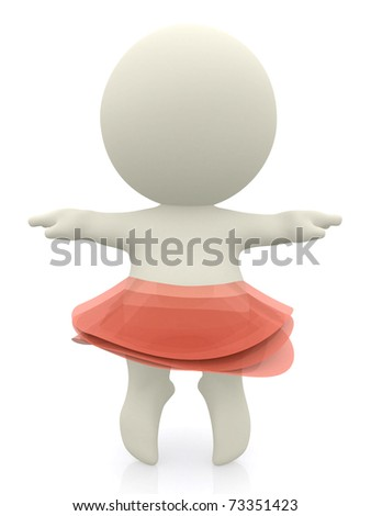 3d ballerina with a tulle skirt isolated over white stock photo