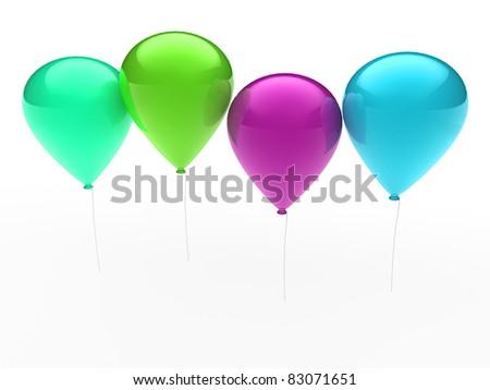 3d, ballon, balloon, party, birthday, colorful, color - stock photo