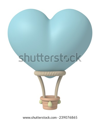 3D Balloon form Heart Blue pastel color Plasticine modeling clay, object isolated - stock photo