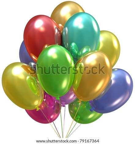 3d Balloons. Birthday and party decoration. Isolated on white. - stock photo