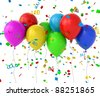 3d balloons with confetti - stock vector