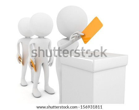3D ballot boxes and voters isolated - stock photo
