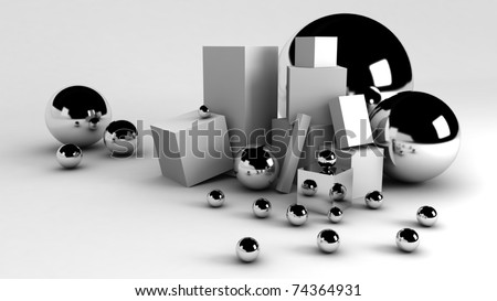 3D balls and boxes - stock photo