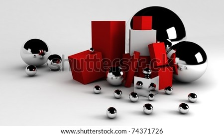 3D balls and boxes abstract - stock photo