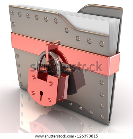 3D bank file and lock. Data security concept. - stock photo