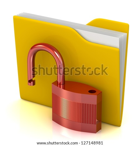 3D bank folder and unlocked lock. - stock photo