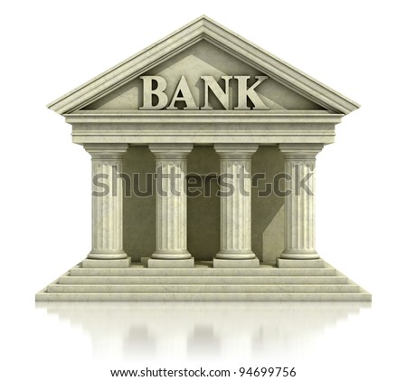 3d bank isolated on the white - stock photo