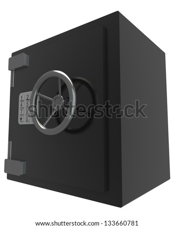 3D bank vault. white background