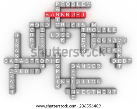 3d Bankruptcy concept in word tag cloud on white background  - stock photo