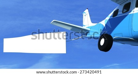 3D. Banner, Airplane, Advertisement. - stock photo