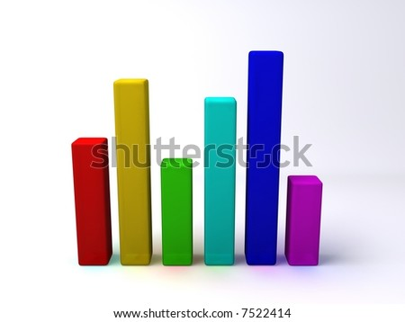 3D bar chart. It is made of plastic. - stock photo