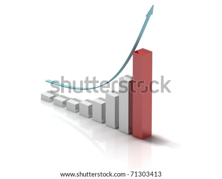 3d bar chart of exponential growth - stock photo
