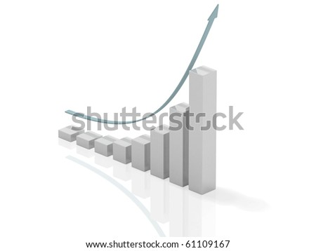 3d bar chart of exponential growth rate - stock photo