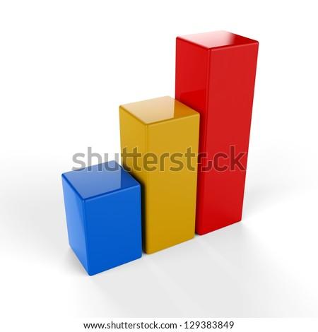 3D Bar Graph icon - stock photo