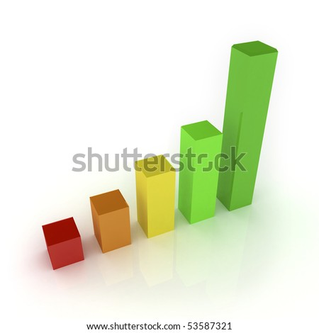 3D bar graph with reflection - stock photo