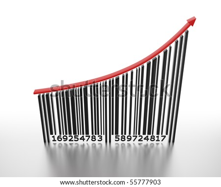 3D barcode with a red arrow pointing up - stock photo