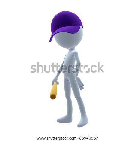 3D baseball guy holding a baseball bat on a white background - stock photo