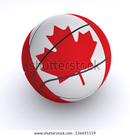 3D basket ball with Canada flag on white. - stock photo