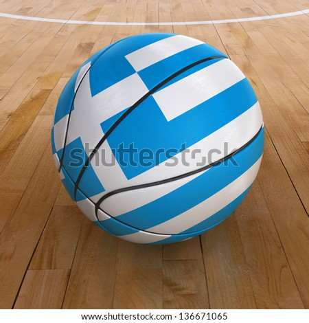3D basket ball with Greece flag on basketball court. - stock photo