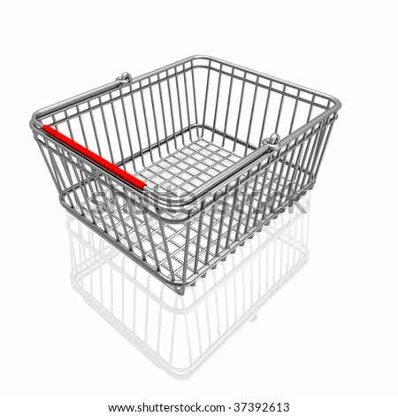3d basket isolated in white background - stock photo