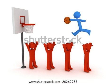 3d basketball player trying to made slam dunk - stock photo