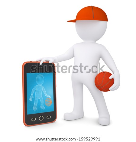 3d basketball player with the telephone. Isolated render on a white background - stock photo