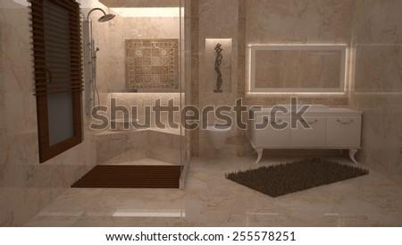 3D bathroom design  - stock photo