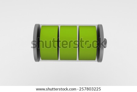 3D battery icon with a full charge isolated on white background - stock photo