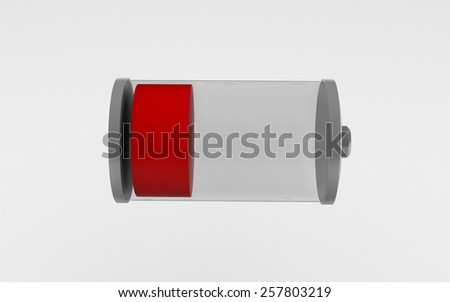 3D battery icon with a low charge isolated on white background - stock photo