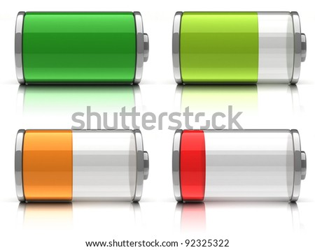 3d Battery icons with different charge levels on white background - stock photo