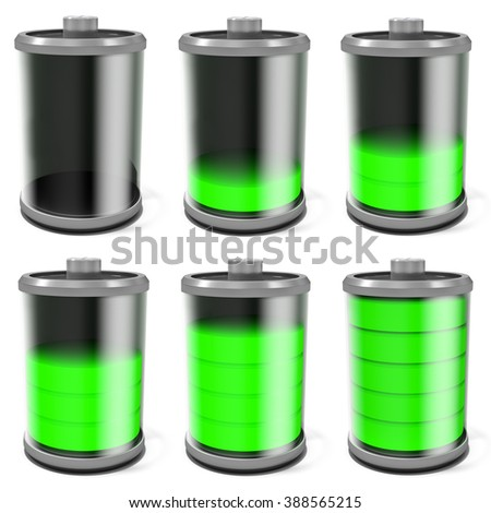 3d battery symbol full to empty collage on white background - stock photo
