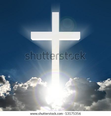 3d beaming bright white cross in heaven - stock photo
